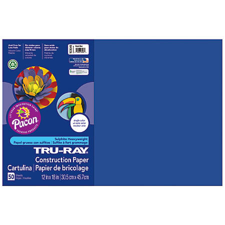 """Tru-Ray® Construction Paper, 50% Recycled, 12"""" x 18"""", Royal Blue, Pack Of 50"""