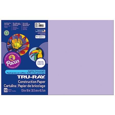 "Tru-Ray® Construction Paper, 50% Recycled, 12"" x 18"", Lilac, Pack Of 50"