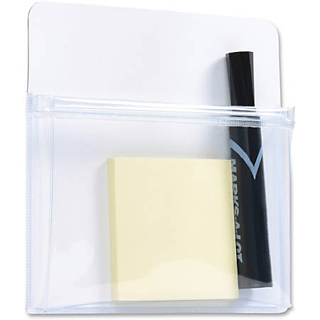 "Tatco Magnetic Pouch - 1"" Height x 9.5"" Width x 12"" Depth - White - Plastic - 1Each"