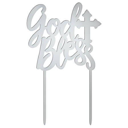 """Amscan Religious God Bless Cake Toppers, 6-1/2"""" x 4"""", Silver, Pack Of 2 Toppers"""