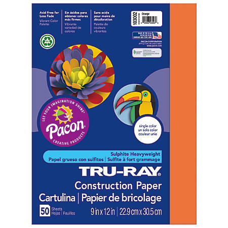 "Tru-Ray® Construction Paper, 50% Recycled, 9"" x 12"", Orange, Pack Of 50"