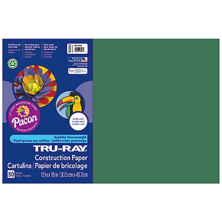 "Tru-Ray® Construction Paper, 50% Recycled, 12"" x 18"", Dark Green, Pack Of 50"