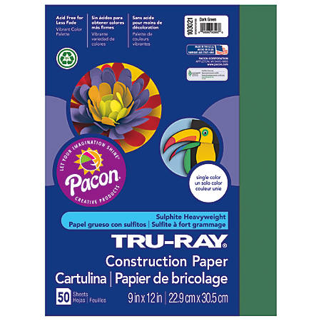 "Tru-Ray® Construction Paper, 50% Recycled, 9"" x 12"", Dark Green, Pack Of 50"
