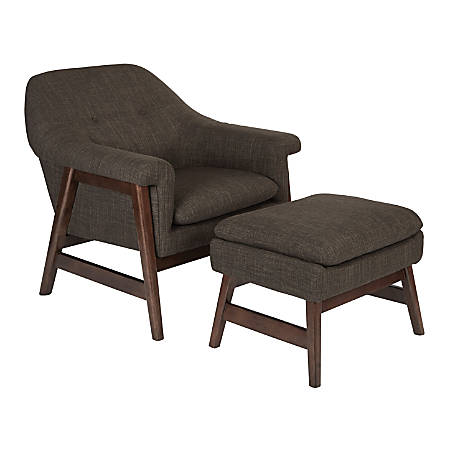 Ave Six Flynton Chair And Ottoman, Taupe/Medium Espresso