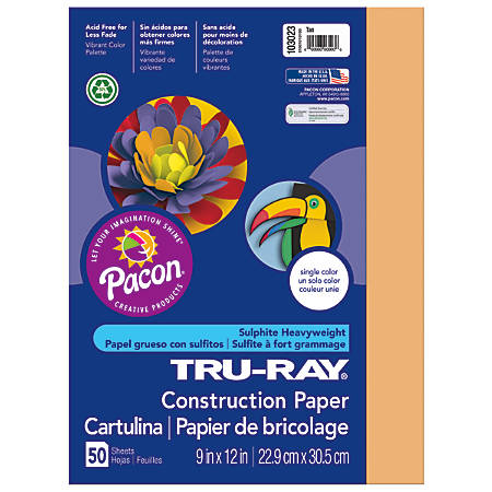 "Tru-Ray® Construction Paper, 50% Recycled, 9"" x 12"", Tan, Pack Of 50"