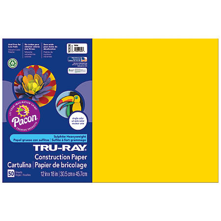 "Tru-Ray® Construction Paper, 50% Recycled, 12"" x 18"", Yellow, Pack Of 50"