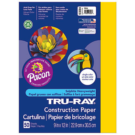 "Tru-Ray® Construction Paper, 50% Recycled, 9"" x 12"", Yellow, Pack Of 50"