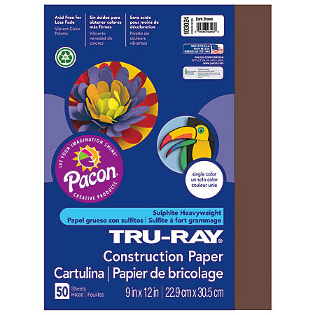 """Tru-Ray® Construction Paper, 50% Recycled, 9"""" x 12"""", Dark Brown, Pack Of 50"""