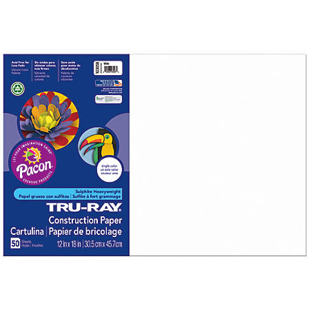 "Tru-Ray® Construction Paper, 50% Recycled, 12"" x 18"", White, Pack Of 50"