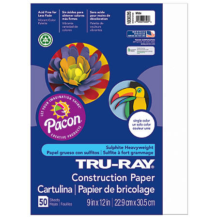 """Tru-Ray® Construction Paper, 50% Recycled, 9"""" x 12"""", White, Pack Of 50"""