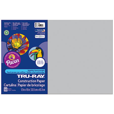 "Tru-Ray® Construction Paper, 50% Recycled, 12"" x 18"", Gray, Pack Of 50"