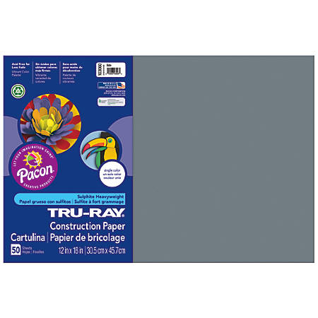 "Tru-Ray® Construction Paper, 50% Recycled, 12"" x 18"", Slate, Pack Of 50"