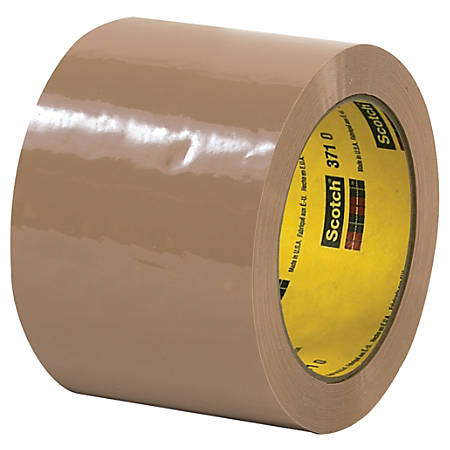 "3M™ 371 Carton Sealing Tape, 3"" Core, 3"" x 110 Yd., Tan, Case Of 6"