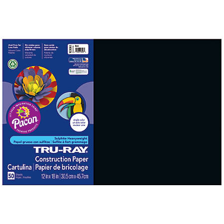 "Tru-Ray® Construction Paper, 50% Recycled, 12"" x 18"", Black, Pack Of 50"