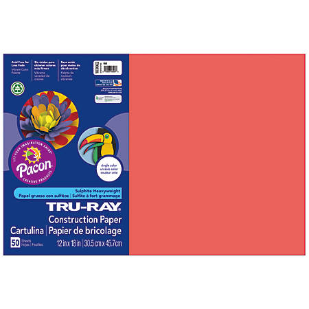 "Tru-Ray® Construction Paper, 50% Recycled, 12"" x 18"", Red, Pack Of 50"