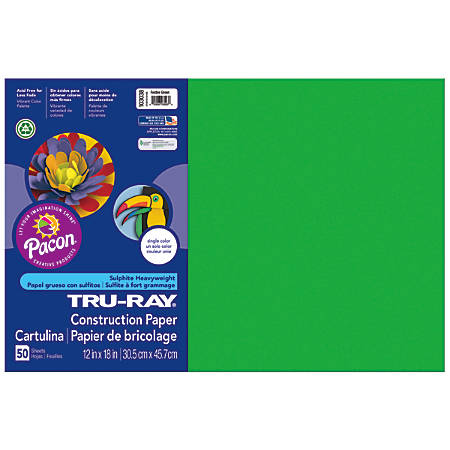 """Tru-Ray® Construction Paper, 50% Recycled, 12"""" x 18"""", Festive Green, Pack Of 50"""