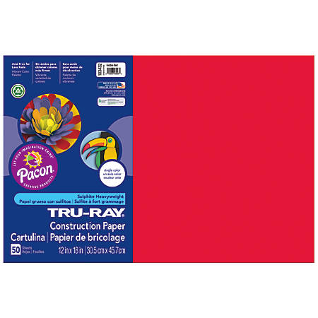 """Tru-Ray® Construction Paper, 50% Recycled, 12"""" x 18"""", Festive Red, Pack Of 50"""