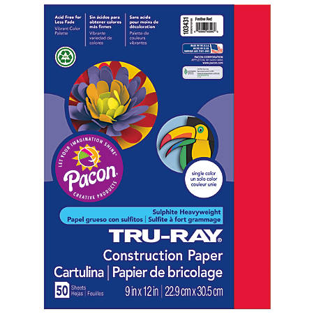 "Tru-Ray® Construction Paper, 50% Recycled, 9"" x 12"", Festive Red, Pack Of 50"