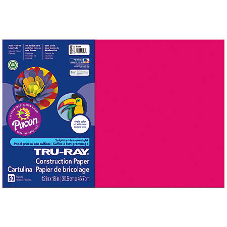 "Tru-Ray® Construction Paper, 50% Recycled, 12"" x 18"", Scarlet, Pack Of 50"