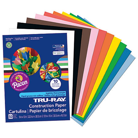 """Tru-Ray® Construction Paper, 50% Recycled, Assorted Colors, 9"""" x 12"""", Pack Of 50"""