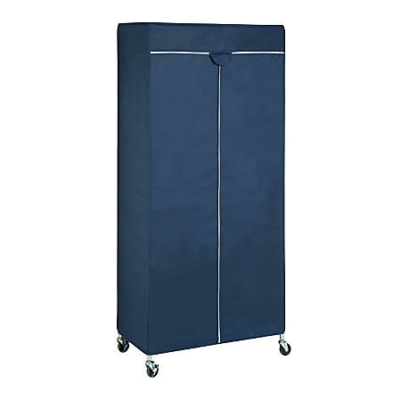 "Honey-Can-Do Urban Garment Rack Cover, 73 1/4""H x 17 3/4""W x 35 7/8""D, Blue"