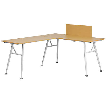 Flash Furniture Contemporary Laminate L-Shape Computer Desk, Beechwood/White