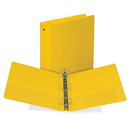 "Samsill Economy Round-Ring View Binder - 2"" Binder Capacity - Round Ring Fastener(s) - Inside Front & Back Pocket(s) - Board, Vinyl - Yellow - Recycled - 1 Each"