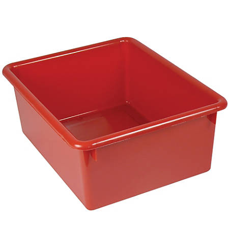 "Stowaway® 5"" Letter Box, No Lid, 5""H x 10 1/2""W x 13""D, Red, Pack Of 4"