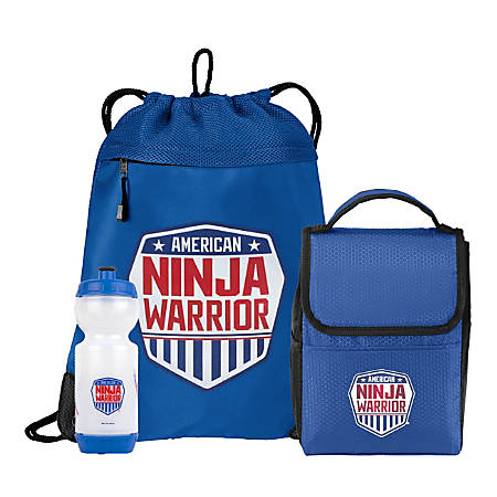 American Ninja Warrior Cinch Backpack, Lunchbox And Water Bottle Set, Blue