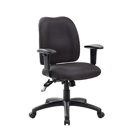 Boss Multifunction Fabric Mid-Back Task Chair, Black