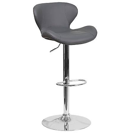 Flash Furniture Contemporary Mid-Back Adjustable Bar Stool, Chrome/Gray