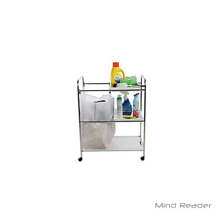 Mind Reader 2-Tray Cleaning Mobile Accessory Cart, Silver