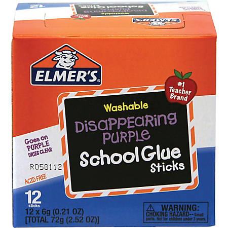 Elmer's® Washable Disappearing Purple School Glue Sticks, 0.21 Oz., Pack Of 12