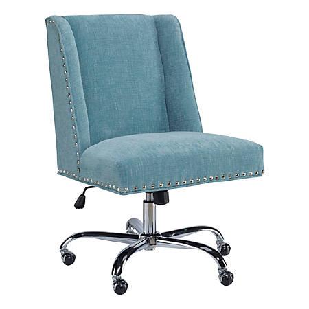 Linon Cooper Mid-Back Chair, Aqua/Chrome