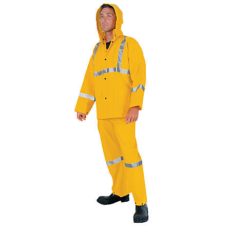 Three-Piece Rain Suit, Jacket/Hood/Overalls, 0.35 mm PVC/Poly, Yellow, Large