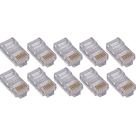 4XEM 100 Pack Cat6 RJ45 Modular Ethernet Plugs for Stranded or Solid CAT6 Cable - 100 Pack Modular RJ45 Ethernet ends for Cat6 stranded or solid CAT6 cable - 1 x RJ-45 Male - Gold-plated Contacts