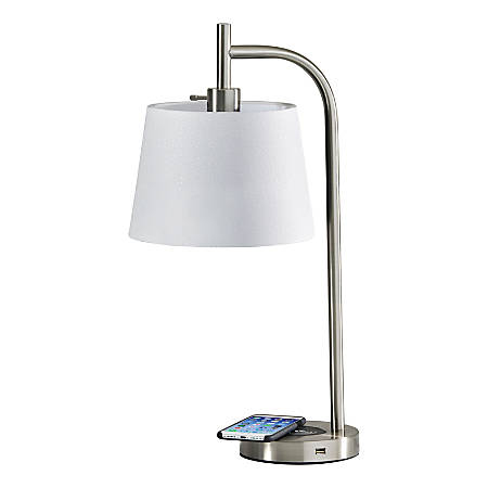 Adesso Drake Wireless Charging Table Lamp 25 H White Shade Brushed Steel Base Item 3405476