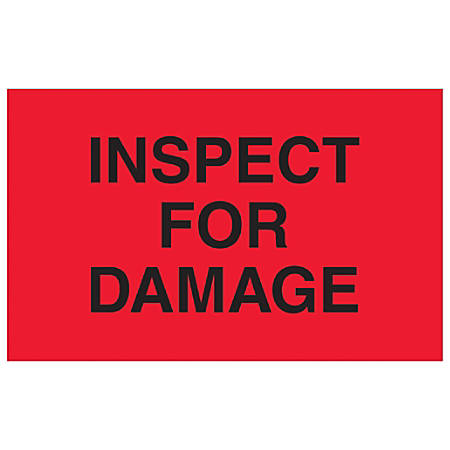 """Tape Logic® Preprinted Special Handling Labels, DL1165, Inspect For Damage, Rectangle, 1 1/4"""" x 2"""", Fluorescent Red, Roll Of 500"""