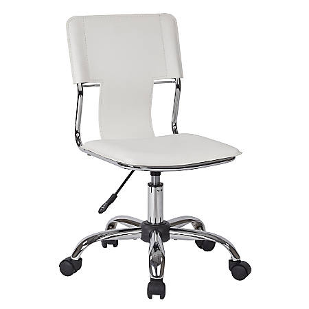 Ave Six Carina Vinyl Mid-Back Task Chair, White/Silver