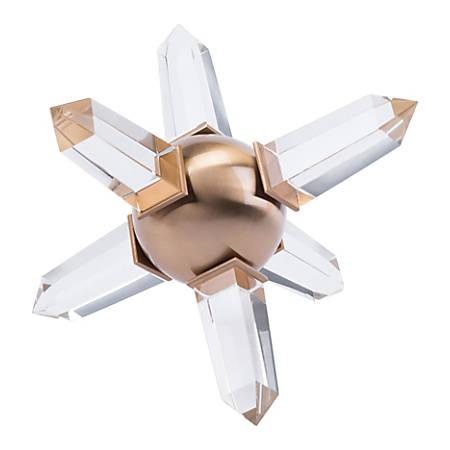 "Zuo Modern Crystal Sphere, 5 3/4""H x 7 1/2""W x 7 1/2""D, Antique Brass"