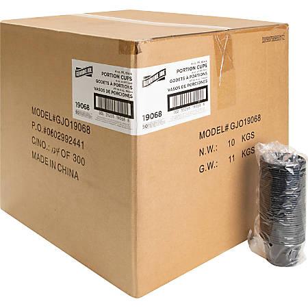 Genuine Joe Portion Cups - 4 fl oz - 2500 / Carton - Black - Polystyrene - Beverage, Sauce