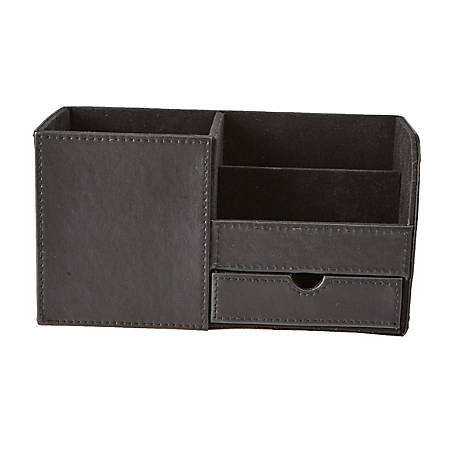 Mind Reader 3-Compartment Faux Leather Desk Organizer, Black
