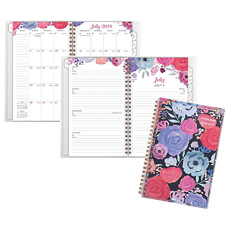 "AT-A-GLANCE® Midnight Rose Customizable Weekly/Monthly Academic Planner, 5 1/2"" x 8 1/2"", 30% Recycled, Multicolor, July 2018 to June 2019"