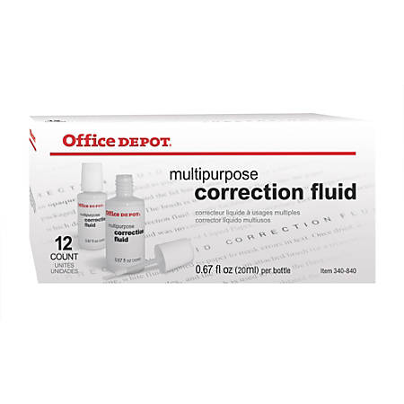 Office Depot® Brand Correction Fluid, Multipurpose, 20 mL, White, Pack Of 12