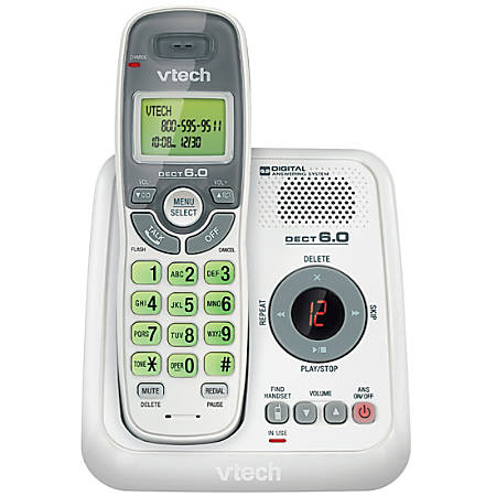 VTech CS6124 DECT 6.0 Cordless Phone with Answering System and Caller ID/Call Waiting, White with 1 Handset - 1 x Phone Line - Speakerphone - Answering Machine - Backlight