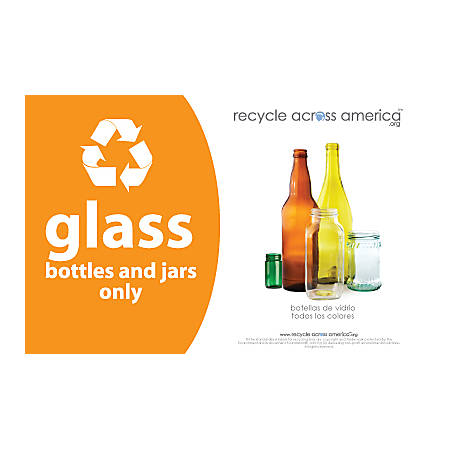"Recycle Across America Glass Standardized Recycling Label, GLASS-5585, 5 1/2"" x 8 1/2"", Orange"