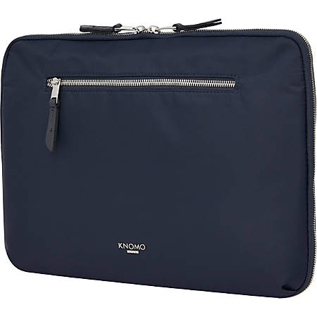 """Knomo Mayfair Carrying Case for 13"""" Notebook - Dark Navy - Water Resistant - Nylon, Full Grain Leather Trim, Fabric - 10.6"""" Height x 14.8"""" Width x 2.4"""" Depth"""