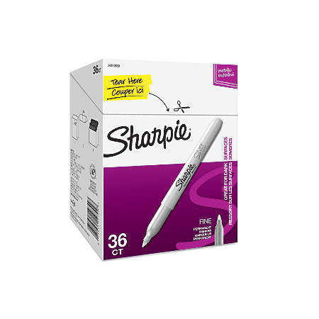 Sharpie® Metallic Permanent Markers, Fine Point, Metallic Silver, Pack Of 36