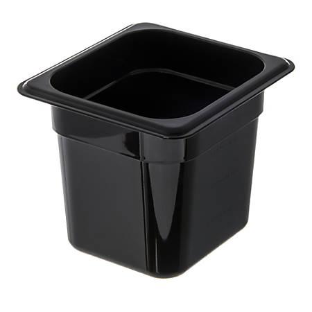 """StorPlus 1/6-Size Plastic Food Pans, 6""""H x 6 3/8""""W x 6 3/4""""D, Black, Pack Of 6"""