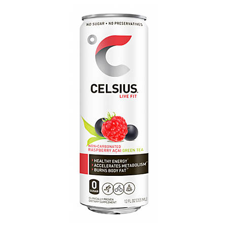 Celsius Sparkling Raspberry Acai Fitness Drinks, 12 Oz, Pack Of 12